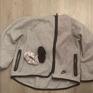 Nike Gray Zip Up Training Hoodie W/ 2 Scrunchies